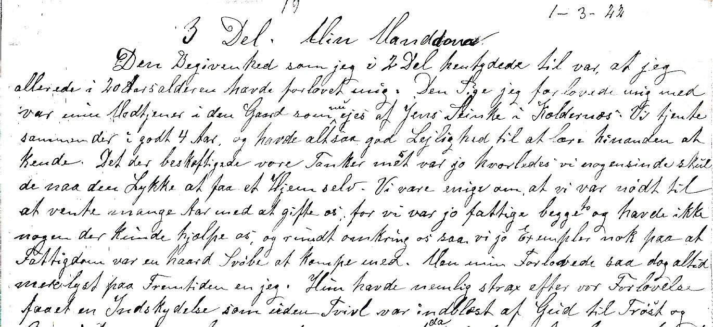 En håndskreven side af Henrik Nielsen Barkhus.