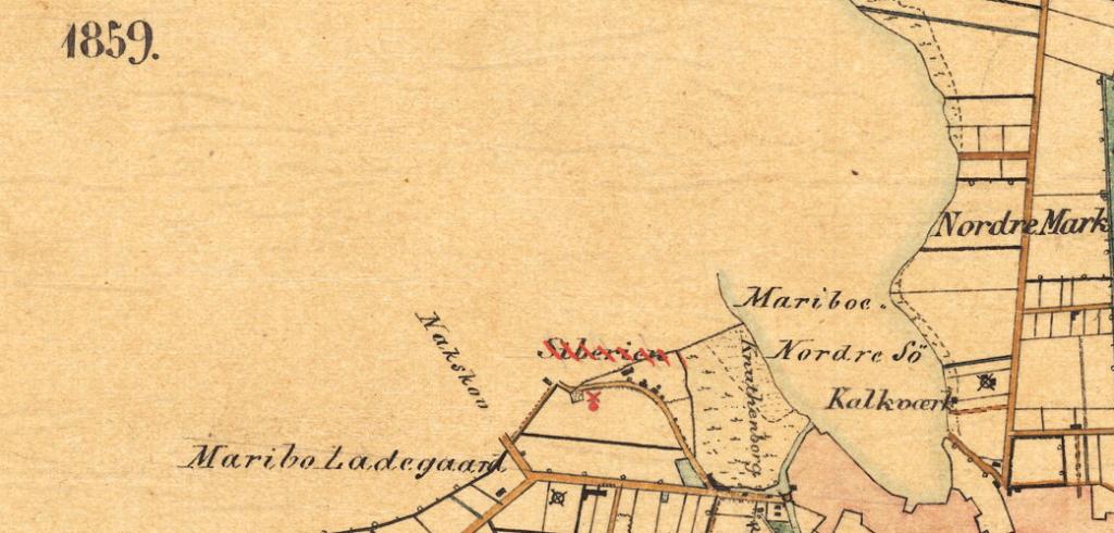 Sognekort over Maribo bygrunde fra 1859.