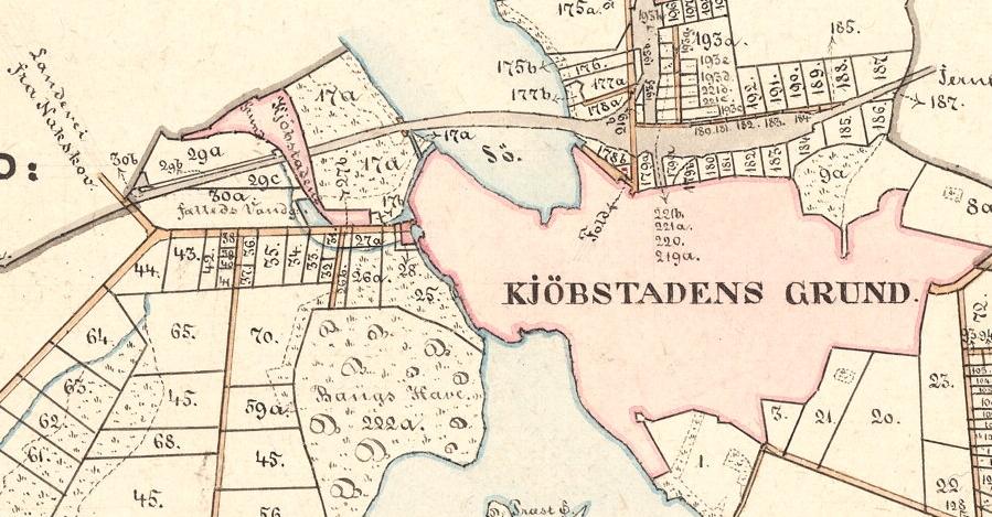 Kort fra 1879 der viser placeringen af Maribo bygrunde.