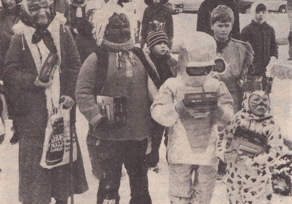 Der blev kæmpet i fire aldersgrupper. Billedet viser de fire heldige vindere som fik hver en Walkman for bedste udklædning.